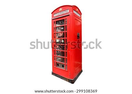 Telephone box isolated in white background - stock photo