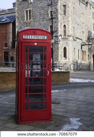 Telephone Box outside Windsor Castle. - stock photo