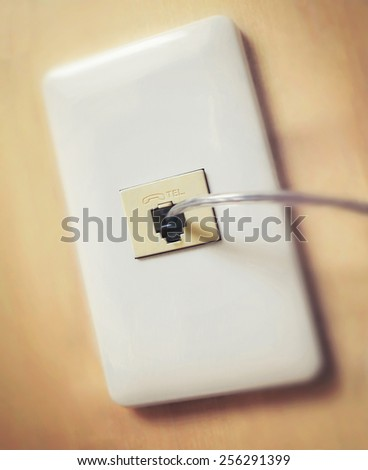 telephone cable connection close up - stock photo