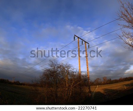 telephone cable in the countryside