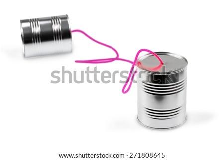 Telephone, Communication, Can. - stock photo
