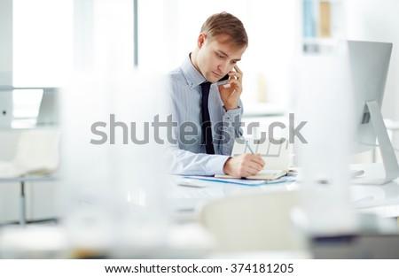 Telephone consultation - stock photo
