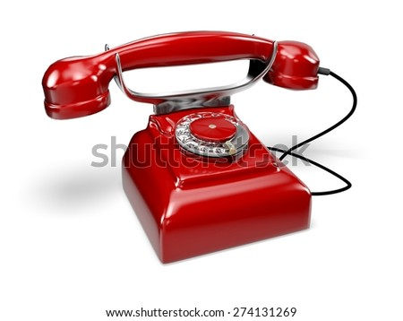 Telephone. 3D. Red retro-styled telephone. Hang up! - stock photo