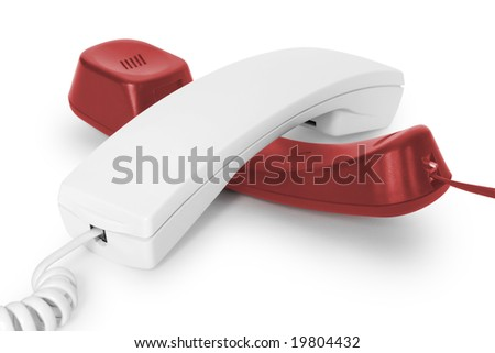 telephone handsets over white. communication concepts