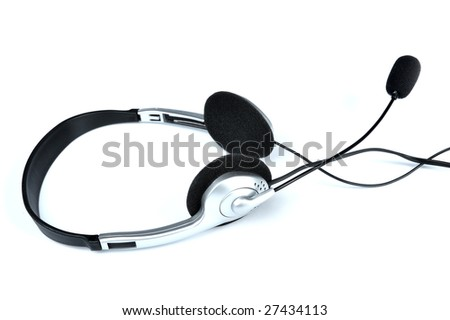 Telephone headset - stock photo