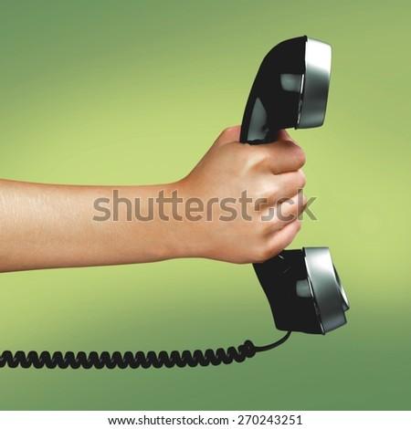 Telephone, Human Hand, Customer Service Representative. - stock photo