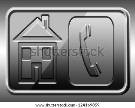 Telephone Icon on Square Black Internet Button - stock photo