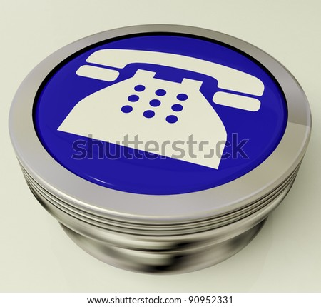 Telephone Icon Or Metallic Blue Button As Symbol For Calling Or Phone Call