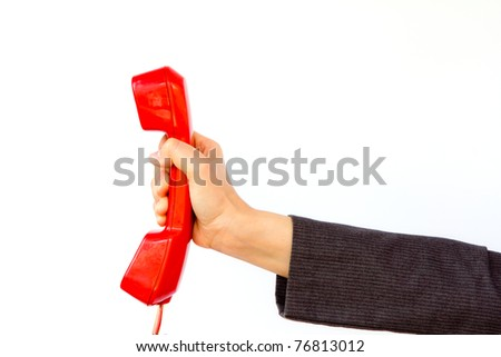 Telephone in hand isolated on white background - stock photo