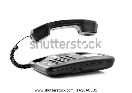 Telephone isolated on a white background with floating handset - stock photo
