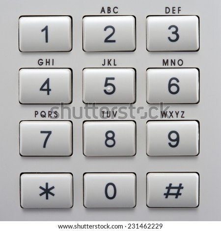 telephone keypad with buttons numbers and letters top view close up