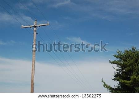 Telephone Lines Plus Trees 2 - stock photo