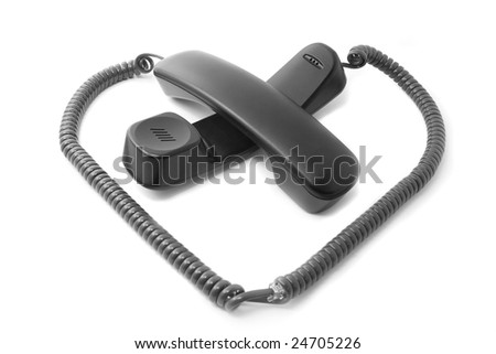 Telephone love: heart symbol made of two phone receivers