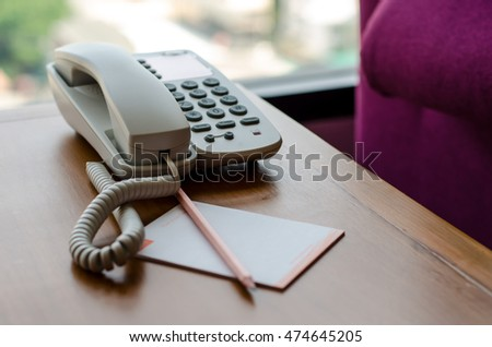Telephone on desk in the living room