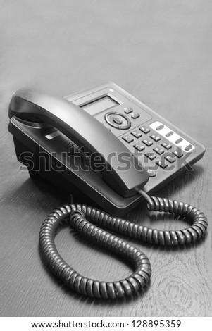 telephone on table - stock photo