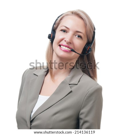 Telephone operator isolated on white background - stock photo