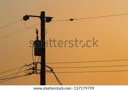 Telephone Pole and Lines - stock photo