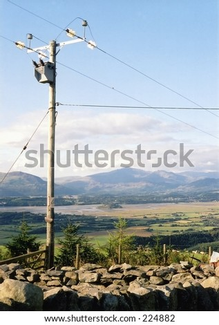 Telephone pole in Snowdonia, Wales