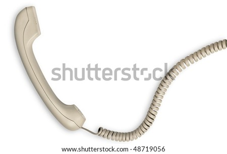 Telephone receiver and spiral cord on white background. Clipping path - stock photo