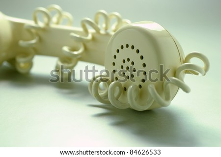 Telephone Receiver in Green Tone - stock photo