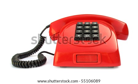 Telephone vintage red lovely phone from 1970s - stock photo