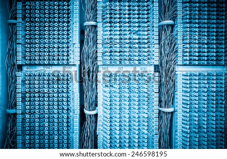 telephone wires panel closeup , switchboard cable connection - stock photo