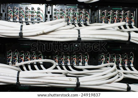 Telephone wires panel, Switchboard Panel. - stock photo