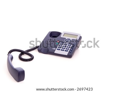 Telephone with digital display and receiver off the hook over white background - stock photo
