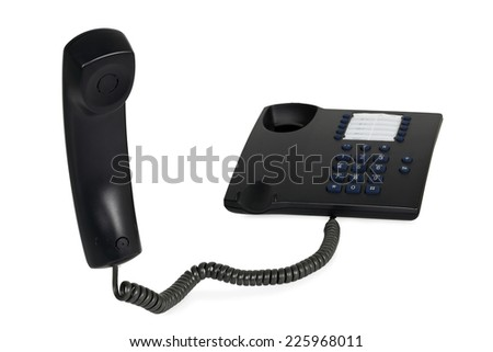 telephone with hanging receiver isolated on white - stock photo