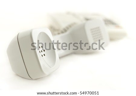 telephone with receiver isolated on white.