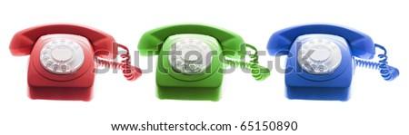 Telephones on White Background - stock photo