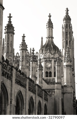Telephoto shot of abundant gothic spires of King's College in Cambridge - stock photo