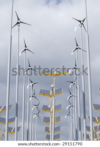 Telephoto view of wind and solar power generators