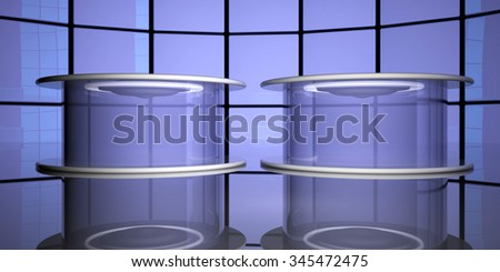 Teleportation capsules near reflecting glass, 3d render - stock photo