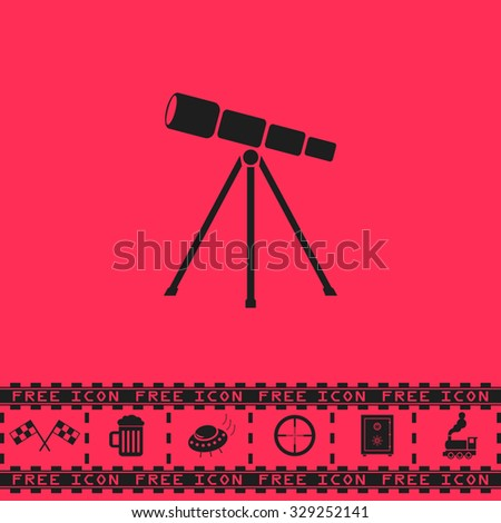 Telescope. Black flat illustration pictogram and bonus icon - Racing flag, Beer mug, Ufo fly, Sniper sight, Safe, Train on pink background - stock photo