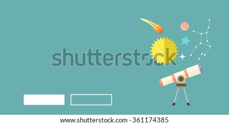 Telescope, celestial bodies constellation sun. Comet and star, astronomy space, astrology and galaxy, science and universe, travel flying, equipment and heavenly body illustration. Raster version - stock photo