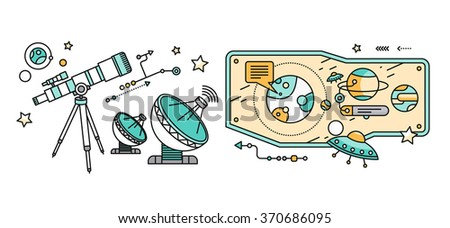 Telescope, celestial bodies constellation sun. Comet and star, astronomy space, astrology and galaxy, science and universe, travel flying, equipment and heavenly body illustration. Astronomy concept - stock photo
