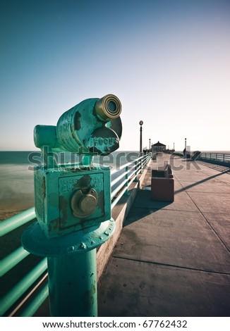 Telescope Focus Manhattan Beach Pier - stock photo