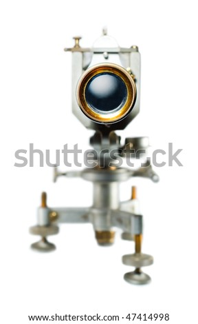 Telescope front view,  shiny lens, isolated on white - stock photo