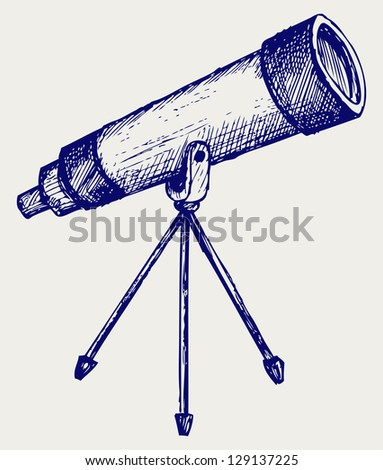 Telescope in tripod. Doodle style. Raster version