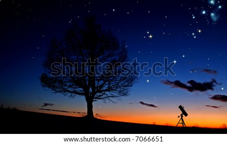 Telescope is waiting for night - stock photo
