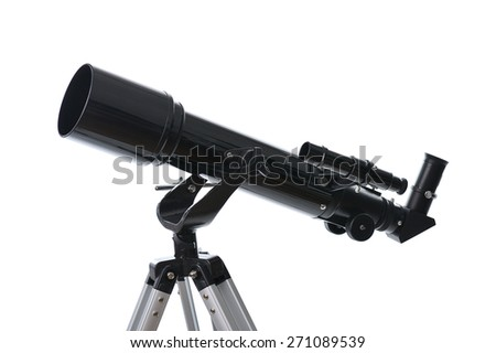 telescope isolated on white background - stock photo