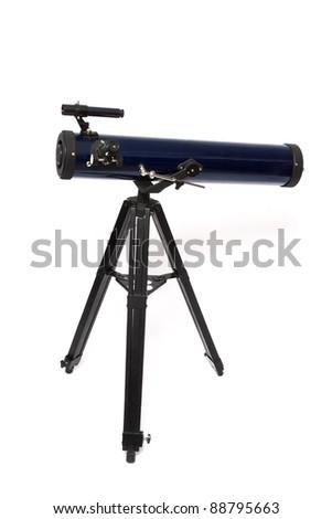 Telescope isolated on white background - stock photo