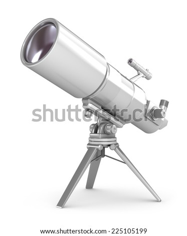 Telescope on support over wite - stock photo