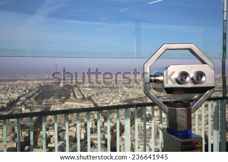 Telescope on the Top of Maine-Montparnasse Tower. Paris - stock photo