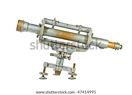 Telescope side view isolated on white - stock photo