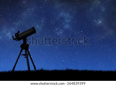Telescope silhouette against the starry sky - stock photo