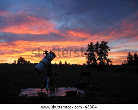 Telescope Sunset - stock photo