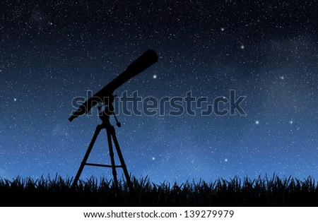 Telescope under the night sky - stock photo
