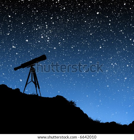 Telescope Under the Stars - stock photo